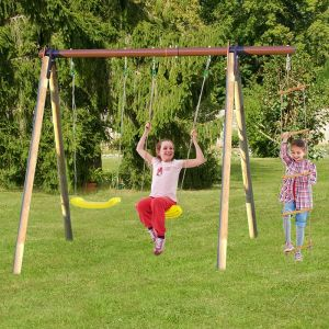 Trigano Piki Kids Wooden Double Garden Swing with Rope Ladder