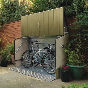 6'4 x 2'9 Trimetals Protect A Cycle Metal Bike Shed with Ramp - Green (1.95m x 0.88m)