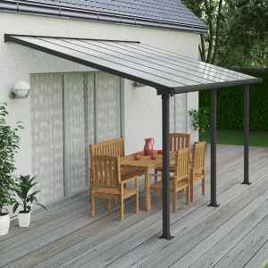 10'x14' (3x4.25m) Palram Olympia Grey Patio Cover With Clear Panels