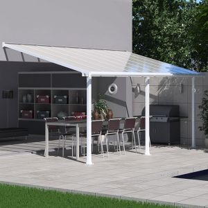 10x20 Palram Olympia White Patio Cover With Clear Panels