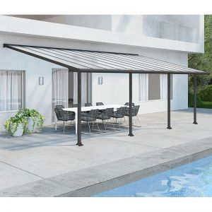 10' x 24' Palram Canopia Olympia Grey Patio Cover with Clear Panels