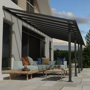10' x 32' Palram Canopia Olympia Grey Patio Cover with Clear Panels