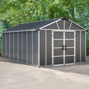 11' x 17.2' Palram Yukon Dark Grey Plastic Shed with WPC Floor