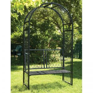 Panacea Twisted Lattice Metal Garden Arch with Seat 7'3 x 3'9