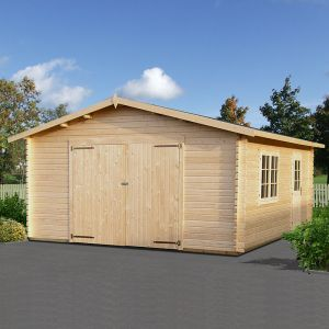 15x18 (4.5x5.5m) Palmako Extra Wide Single 44mm Garage - Double Doors