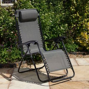 Glendale Textaline Grey Relaxer Reclining Garden Chair - Set of 2