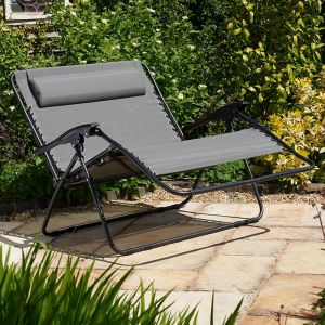 Glendale Textaline Grey Twin Seater Reclining Garden Chair