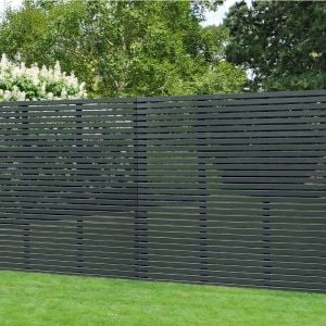 Forest 6' x 6'  Contemporary Grey Slatted Fence Panel (1.8m x 1.8m)
