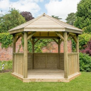 12x10 Luxury Wooden Garden Gazebo with Traditional Timber Roof - Seats up to 10 people