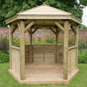10'x9' (3x2.7m) M&M Hexagonal Gazebo with Traditional Timber Roof