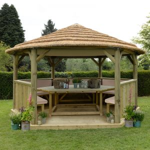 15'x13' (4.7x4m) Luxury Wooden Furnished Garden Gazebo with Thatched Roof - Seats up to 19 people