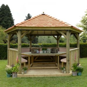 15'x13' (4.7x4m) Luxury Wooden Garden Gazebo with New England Cedar Roof - Seats up to 19 people