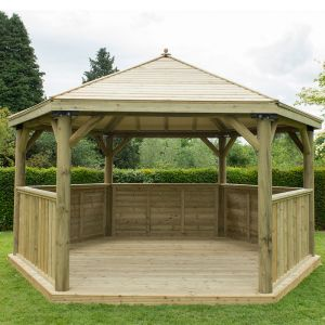15'x13' (4.7x4m) M&M Hexagonal Gazebo with Traditional Timber Roof