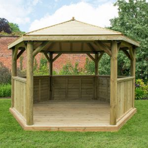 13x12 Luxury Wooden Garden Gazebo with Traditional Timber Roof - Seats up to 15 people