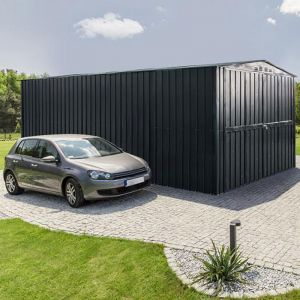 10'x15' (3x4.5m) Lotus Anthracite Grey Double Hinged Metal Garage