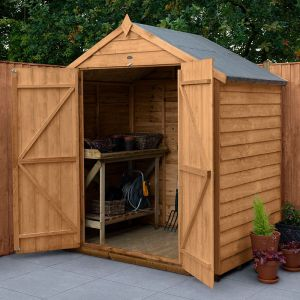 6' x 4' Forest Overlap Dip Treated Windowless Double Door Apex Wooden Shed