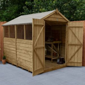 8' x 6' Forest Overlap Pressure Treated Double Door Apex Wooden Shed - 4 Windows