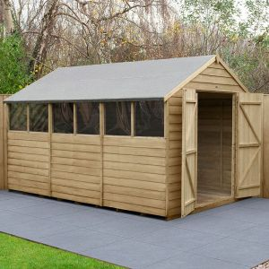 12' x 8' Forest Overlap Pressure Treated Double Door Apex Wooden Shed