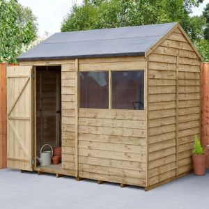 8' x 6' Forest Overlap Pressure Treated Reverse Apex Wooden Shed