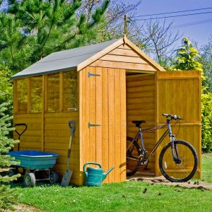 7' x 5' Shire Overlap Double Door Wooden Garden Shed with Windows (2.1m x 1.67m)