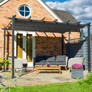 13' x 10' Rowlinson Venetian Garden Pergola with Retractable Canopy (4m x 3m)