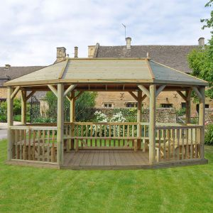 20'x15' (6x4.7m) M&M Premium Oval Gazebo with Traditional Timber Roof