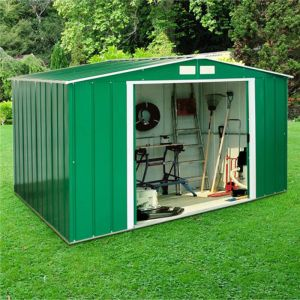 10'x8' (3x2.4m) Store More Sapphire Apex Green Metal Shed