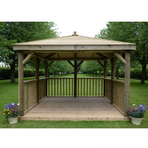 11'x11' (3.5x3.5m) M&M Square Gazebo with Traditional Timber Roof