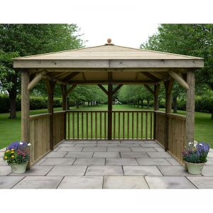 11'x11' (3.5x3.5m) M&M Square Gazebo with Traditional Timber Roof (no base)