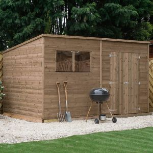 12' x 8' Windsor Shiplap Double Door Pent Wooden Garden Shed (3.6m x 2.4m)