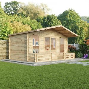 5x3m (16'x10') Windsor Woburn 44mm Log Cabin Summerhouse with Veranda
