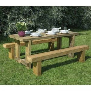 Forest Sleeper Bench & Refectory Wooden Garden Table Set 6'x2' (1.8x0.7m)