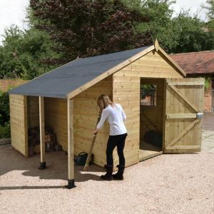 12' x 8' Shed Republic Ultimate Heavy Duty Workshop / Log Store - Single Door