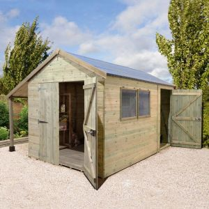 14' x 8' Shed Republic Ultimate Combination Workshop with Log Store - Double Doors