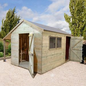 14' x 8' Shed Republic Ultimate Combination Workshop with Log Store - Single Door