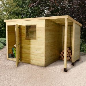 8x6 Shed Republic Ultimate Heavy Duty Shed - Single Door on Left with 3' Logstore on Right
