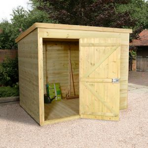 8x6 Shed Republic Ultimate Heavy Duty Pent Shed - Single Door on Left
