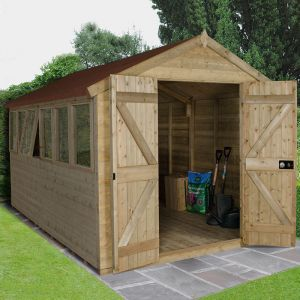 12' x 8' Forest Tongue and Groove Apex Pressure Treated Wooden Double Door Shed