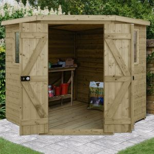 7' x 7' Forest Premium Tongue And Groove Pressure Treated Wooden Corner Shed