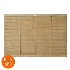 Forest 6' x 4' Pressure Treated Lap Fence Panel - Pack of 9