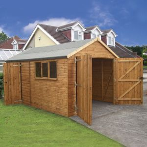 14' x 12' (4.28x3.66m) Traditional Deluxe Wooden Garage
