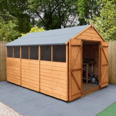 12' x 8' Forest Delamere Shiplap Dip Treated Double Door Apex Wooden Shed
