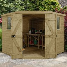 8' x 8' Forest Premium Tongue And Groove Pressure Treated Wooden Corner Shed