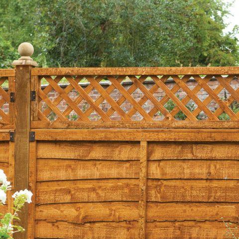 a diamond fence top trellis panel in situ