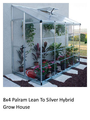 8x4 Palram Lean To Silver Hybrid Grow House