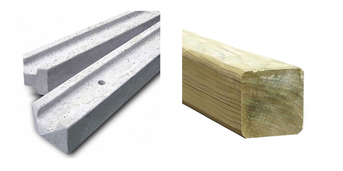 Cutout images of concrete and wood fence posts