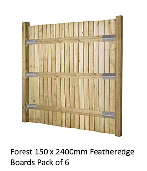 Forest 150 x 2400mm Featheredge Boards Pack of 6