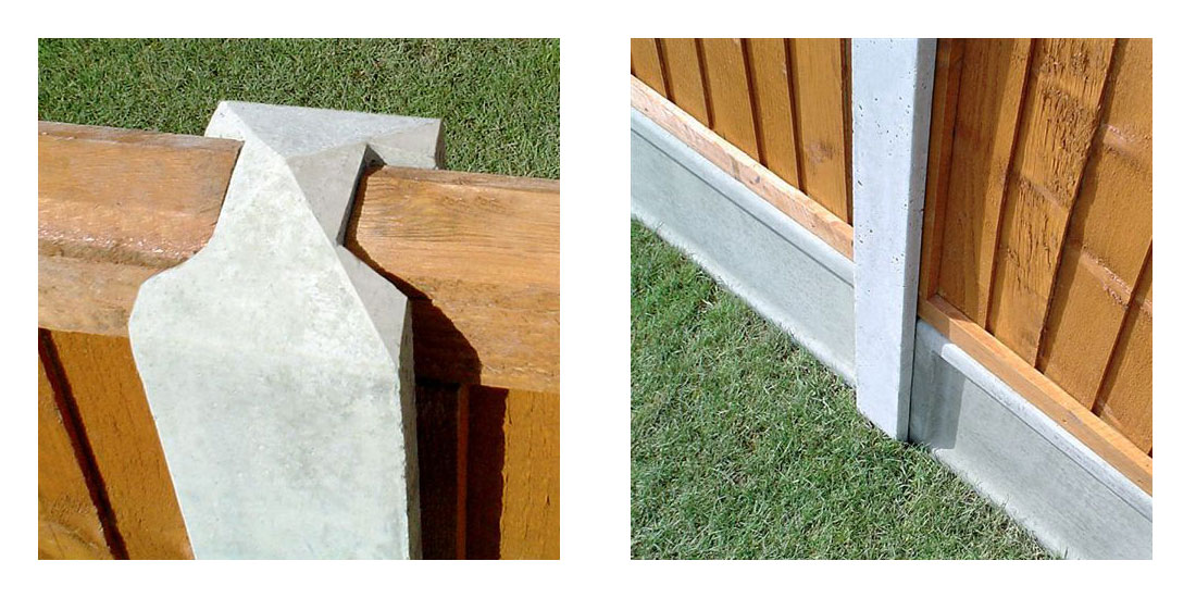The top of a concrete fence post and the bottom of a concrete fence post, where it joins a gravel board. Both pictures are insitu with wood fence panels.
