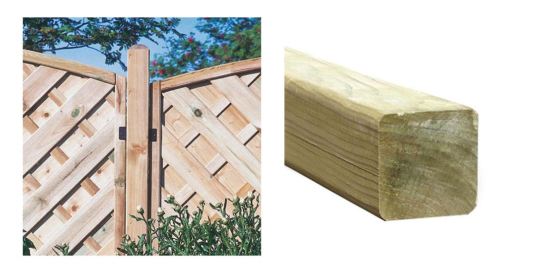 A wood fence post insitu with wooden fence panels and a cutout image of a wood fence post