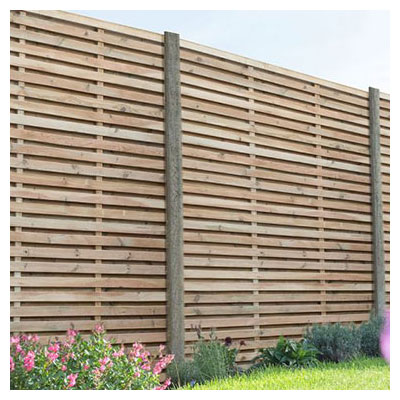 Forest 6x6 Double Slatted Fence Panel - A pressure treated double slatted decorative garden fence panel between wooden posts
